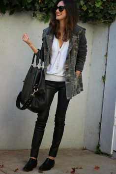 Camo Jacket, white top, black jeans
