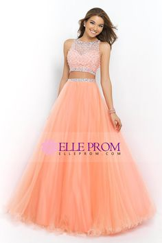 2015 Two Pieces Bateau Beaded Bodice A Line/Princess Prom Dress Pick Up Tulle Skirt Floor Length