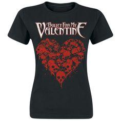 """Juuri uuden """"Temper temper"""" -levyn julkaisseen Bullet For My Valentinen girlie-paita kallo/sydän-printillä. 100% puuvillaa."""
