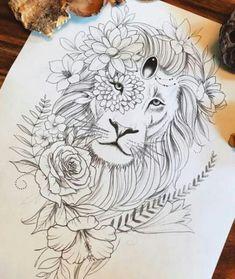 New tattoo lion sleeve drawings ideas Tattoo L, Tattoo Bein, Leo Tattoos, Future Tattoos, Animal Tattoos, Tattoo Drawings, Body Art Tattoos, Sleeve Tattoos, Color Tattoos