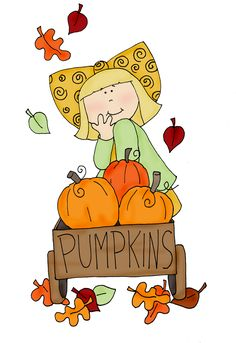 Free Dearie Dolls Digi Stamps: Wagon full of Pumpkins