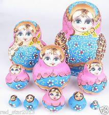 Popular Set of 10 Nesting Dolls Handmade Colorful Russian Matryoshka Toy Gift