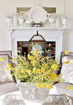 Love this library decorated for summer!  Yellow and gray is such a fun color combination!