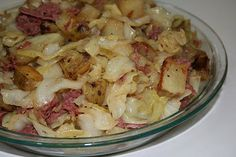 Corned Beef and Cabbage Hash - Cabbage, caramelized onion, corned beef and pan fried potatoes make a delicious hash.