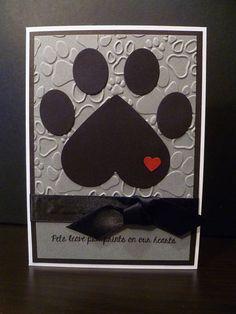 Handmade Pet Sympathy Card, Paw Print, Heart
