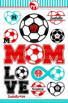 Soccer SVG Cut Files - Monogram Frames This digital artwork is composed of SVG files that can be used by cutting software, such as Cricut Design