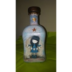 Wine bottle by the technique of decoupage. Vodka Bottle, Decoupage, Wine, Drinks, Handmade, Drinking, Beverages, Hand Made, Drink