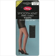 "Womens Silky XXL Black Tights 54""-60"" Hip 94% Nylon 6% Spandex Smooth Knit 5034665004092 on eBid United Kingdom"