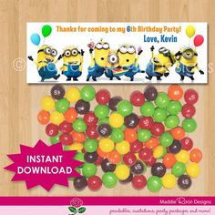 Despicable Me Favor Bag Toppers - Printable Minion Birthday Party Favors for Treat Bags or Candy Loot Bags - matches Birthday Invitation