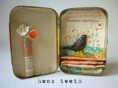 Little tin . altered art from Hen's teeth I just love these, I want to own them all! Altered Tins, Altered Art, Matchbox Art, Matchbox Crafts, Mint Tins, Tin Art, Altoids Tins, Assemblage Art, Tin Boxes