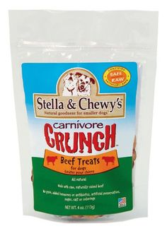 $10.99-$10.99 Stella & Chewy's Carnivore Crunch Freeze Dried Beef Recipe Treats For Dogs and Cats are delicious freeze-dried treats that can be given whole as a training reward, or crumbled over food at mealtimes for added flavor and nutrition. Our treats contain no preservatives, no dyes or colorings, and no sugar or salt
