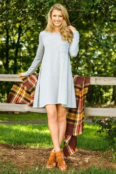 In My Pocket Sweatshirt Dress-Heather - New Today | The Red Dress Boutique