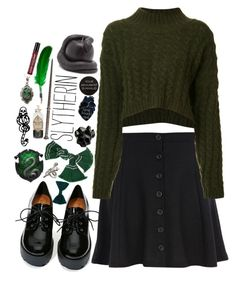 """""...or perhaps in slytherin, you'll make your real friends, these cunning folks use any means to achieve their ends."""" by lostinthecosmics ❤ liked on Polyvore featuring River Island, Vivienne Westwood Anglomania, Shoe Cult, Macabre Gadgets, D.L. & Co., OPTIONS, Avalaya, American Apparel, mark. and Alkemie"