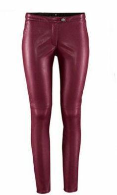 Legging skinny elástico polipiel tiro bajo-Rojo vino pictures