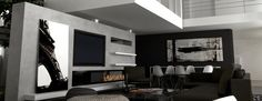 moderne-kamin-design mit TV http://www.a-fireplace.com/de/moderne-design-kamin-afire/