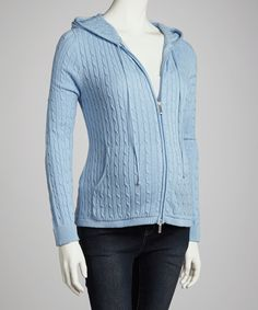 Take a look at this Blue Cable Knit Maternity Zip-Up Hoodie on zulily today!