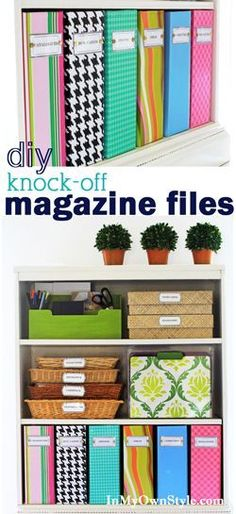 Home and office organizing idea for magazine file boxes, shelves and more, along with FREE printable labels that will help you stay organized.
