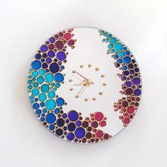 Purples Blues Pinks Bubbles Hand Painted Mirror Wall por ArtMasha