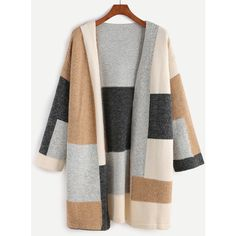 SheIn(sheinside) Color Block Drop Shoulder Open Front Sweater Coat (58 BAM) ❤ liked on Polyvore featuring multicolor