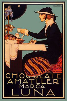 Chocolate Amatller Fashion Lady Tiffany lamp Candy Vintage Poster