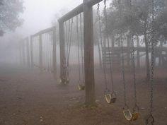 Autumn foggy swing-set