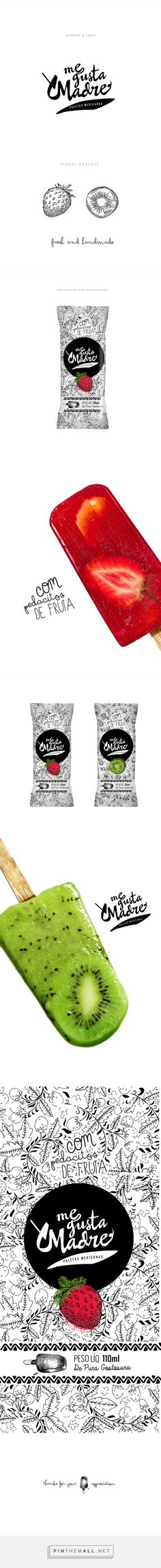 Branding and packaging design for Me Gusta Madre Ice Cream. Ice Cream Packaging, Cool Packaging, Tea Packaging, Food Packaging Design, Beverage Packaging, Brand Packaging, Food Branding, Food Design, E Design