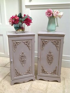 Pair of Painted Grey French Style Vintage Bedside Cabinets Shabby Chic Pot Cupboards on Etsy, €438,43
