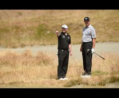 2015 US Open  Branden Grace (left) and Ernie Els (right) look on at the 15th hole during practice rounds on Tuesday at Chambers Bay