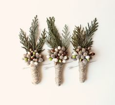woodland boutonniere winter weddings groomsmen by whichgoose