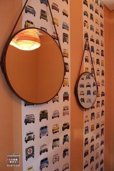 Rénovation et décoration à Lamballe (auto-école), décoration auto-école, miroir suspendu, papier peint voiture,