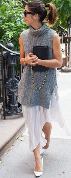 This Time Tomorrow White Pumps Whie Midi Skirt Grey Sleeveless Turtleneck Sweater Dress Fall Street Style Inspo                                                                             Source