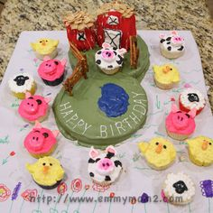 Farm animal birthday cake and cupcakes. Perfect for toddler boy or girl birthday party.