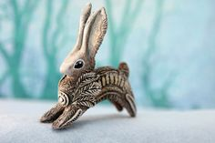 Rabbit Hare Animal Totem Sculpture Rabbit Hare by DemiurgusDreams
