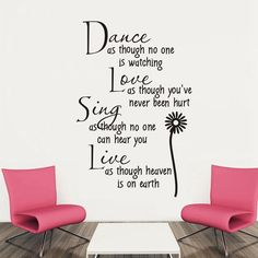 Dance Love Sing Live English Quote Style Wall Sticker Home Appliances... ($4.41) ❤ liked on Polyvore featuring home, home decor, wall art, quotes, room, phrase, saying, text, wall quote stickers and word wall decals