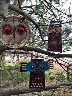 garden junk owls