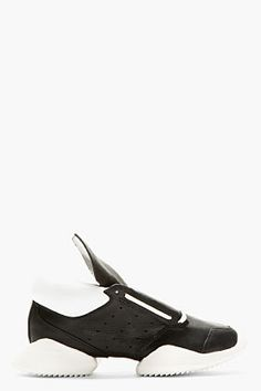 RICK OWENS Black Leather Island Sole adidas Edition Sneakers