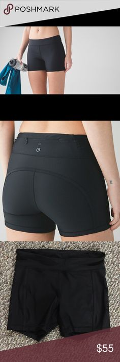 """Lululemon Black Reach The Beach Short Skip the old changing-under-a-towel, these shorts are perfect for a run and a quick dip. Four-way stretch fabric has a UPF 50+ and uses Xtra Life Lycra fibre for improved chlorine and salt resistance. with secure pockets which have a drainage hole. Medium rise 4"""" inseam. Aquelu fabric is made with post-consumer waste Nylon. We love our oceans too! Hugged sensation! lululemon athletica Shorts"""