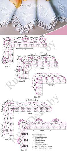 Обвязка края платочка крючком. [] #<br/> # #Handkerchiefs,<br/> # #Crochet #Edgings,<br/> # #Hooks,<br/> # #Income,<br/> # #Points,<br/> # #Crochet #Patterns<br/>