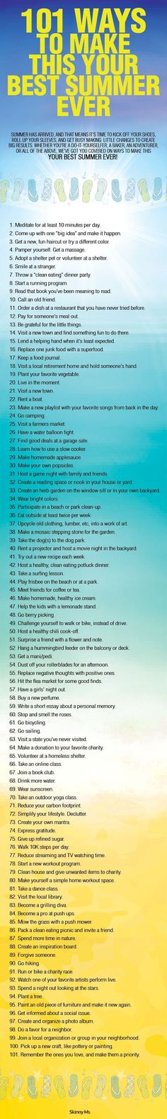 Your best summer ever will be this year and you will be the one to make it happen!  101 Ways to Make this Your BEST SUMMER EVER! #bestsummerever #summer2015