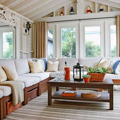 Classic Southern Home | Sunroom, Bench seat and Bench