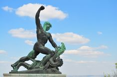 A Statue at the Citadella depicting the fight against Evil at the Citadella in Budapest, Hungary Most Beautiful Cities, Central Europe, Amazing Architecture, Statue Of Liberty, Public, History, City, World, Budapest Hungary