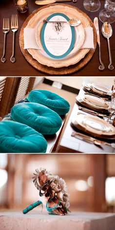 Peacock, copper, and cream wedding - colourscheme to match the cake Cute Wedding Dress, Fall Wedding Dresses, Colored Wedding Dresses, Perfect Wedding, Wedding Themes, Wedding Events, Our Wedding, Wedding Decorations, Weddings