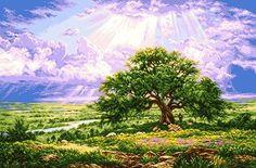 Ponto Cruz 3 - Quadros - Árvore Divina