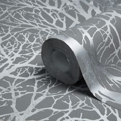 Life Tree Print Grey & Silver Metallic Wallpaper | Departments | DIY at B&Q