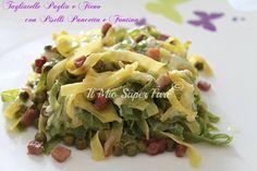 Tagliatelle Paglia e Fieno al forno con Pancetta Piselli e Fontina blog il mio saper fare Linguine, Gnocchi, Pasta Dishes, Cabbage, Spaghetti, Pancetta, Vegetables, Food, Al Dente