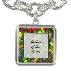 Floral Wedding Mother of the Bride Charm Bracelets