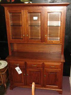 Dark Oak Amish Made China Cabinet Hutch Cupboard Bevel Glass Doors 78