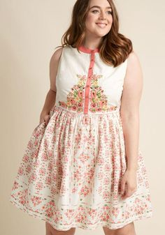 #ModCloth - #ModCloth A Conversation Masterpiece A-Line Dress in Eggshell in 1X - AdoreWe.com