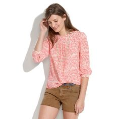 Silk Peasant Blouse in Bamboo Leaf - blouses - Women's SHIRTS & TOPS - Madewell