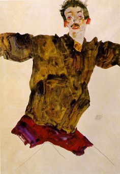 Egon Schiele, Self-Portrait with Outstretched Arms (1911 Gouache, watercolor and pencil on paper, pax82.com
